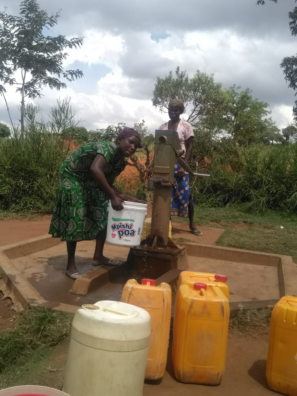 Nyanganira water pump is used by community members
