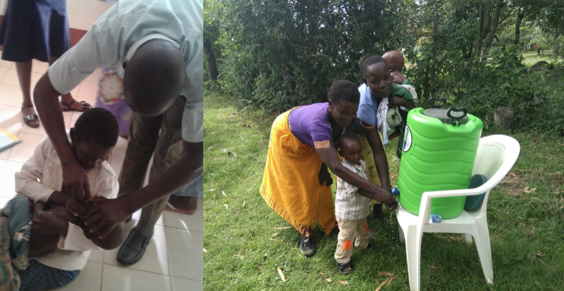 (Left) Ken administers an anti-parasitic to the children in the POM program (Right) Hand washing stations